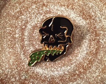 Black Puke Skull Pin