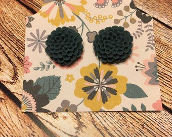Blue Floral Stud Earrings