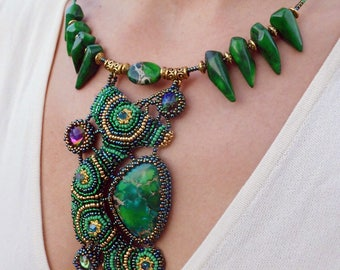 """choker necklace """"The essence of spring"""" - short necklace - green necklace - bead embroidery necklace - beadwork necklace"""
