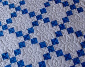 Blue and White Baby Quilt Boy - Hand Quilted-9 Patch Design