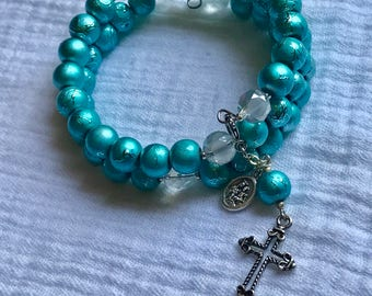 Memory Wire Rosary Bracelet