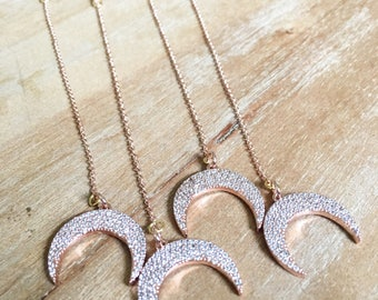 Rose Gold Pave Drop Necklace