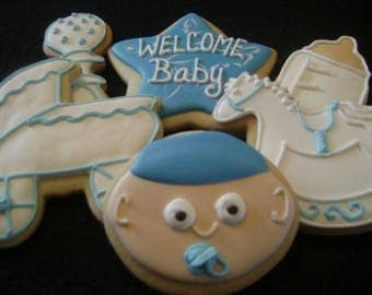 Custom Decorated Baby Shower Cookie Favors | Baby rattles | Carriage | Baby Bottle