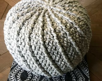 Small Crochet Pouf Pillow, Stuffed, Handmade