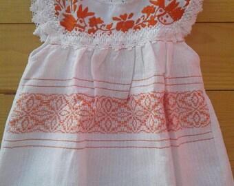 Newborn baby dress hand embroidered size0 − 6months