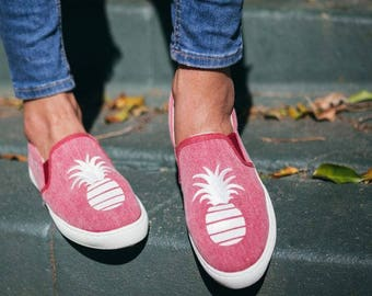 Slip-on Sneakers with Signature Glitter Pineapple in red denim made in Spain
