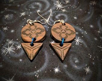 Lotus Petals of Fire and Water Tiered Earrings in Bolivian Rosewood