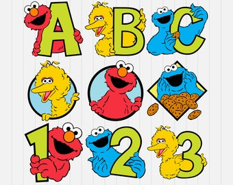Sesame Street and Friends- ABC-123 - svg, dxf, eps, png, Pdf - Download - Cut File, Clipart - Cricut Explorer - Silhouette Cameo
