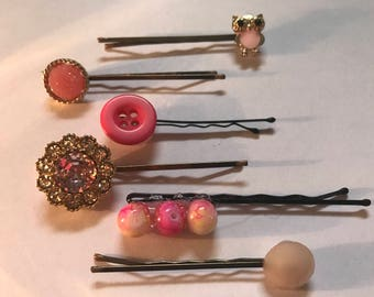 Set of Six Gold and Pink Bobby Pins