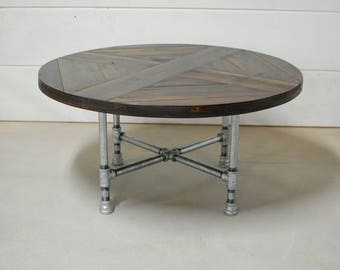 Round Industrial Coffee Table, Industrial Pipe Legs, Reclaimed Wood Furniture, Rustic Table, Round Industrial Furniture - FREE Shipping