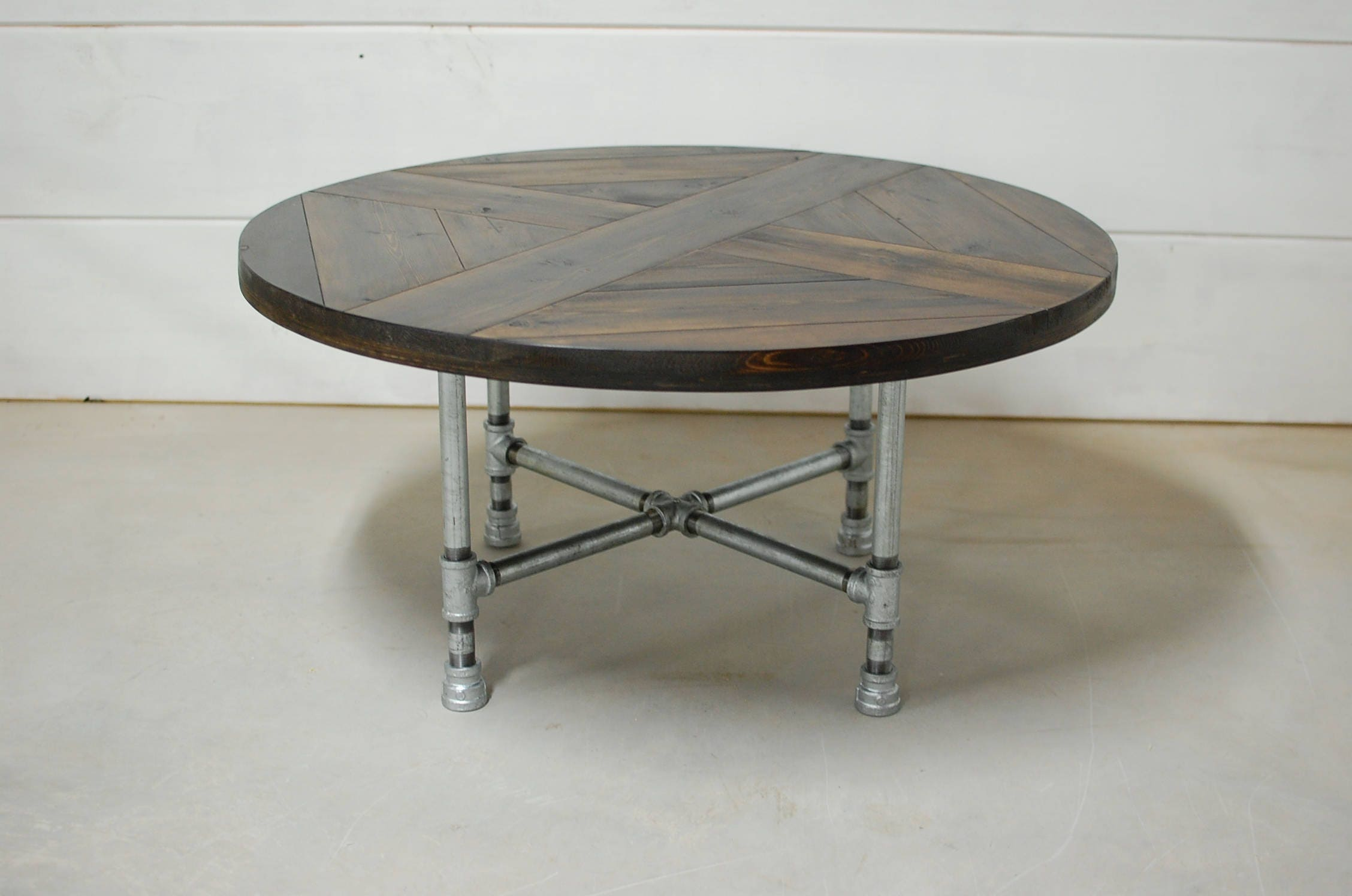 Round industrial coffee table industrial pipe legs reclaimed zoom geotapseo Choice Image