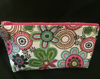 Flowered Zippered Pouch