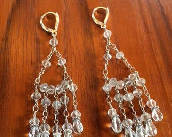 aqua chandelier,aqua blue bridel,gold chandelier,gift for wife,mother,friend,bluegemstone drop earrings,handmade one of a kind