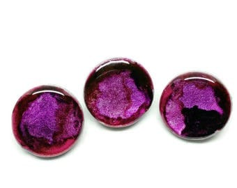 Pink and Purple Buttons, Sweet Colour Burst Buttons, Set of 3, Clothing, Knitting, Crochet, Fibre Arts