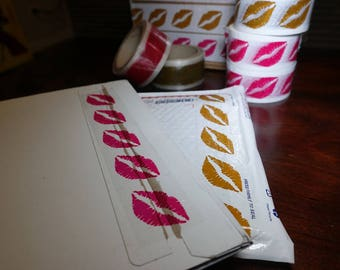 Hot Pink Lips Tape 2 in. x 55 yds | Clear Packing Tape with Hot Pink Lips | Lip Kit Packaging