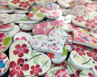 6 Heart Shaped Floral Wooden Buttons, Love, Romance