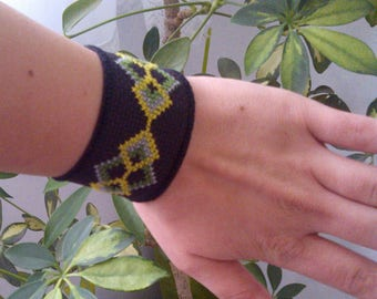 Unique casual handmade bracelet cross stitch with button embroidery