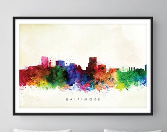 Baltimore Skyline, Baltimore Maryland Cityscape Art Print, Wall Art, Watercolor, Watercolour Art Decor