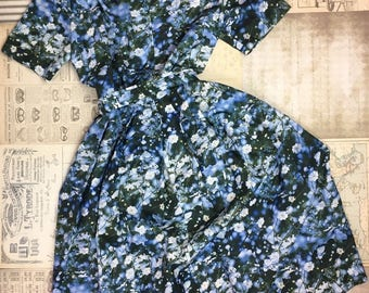 Vintage Dress 60s Floral Short Sleeve Blue Shirt Dress Size Large Photograph Flowers Nature