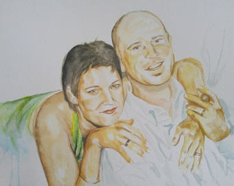 Custom Watercolor Portrait, special occasions, two people
