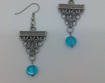 Chevron Weave with Flat Blue Glass Beads, Unique Handmade Chainmaille Jewellery
