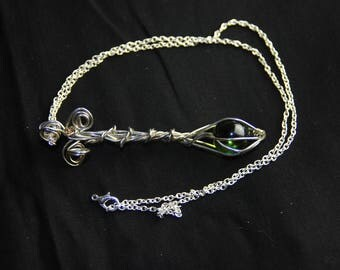 Wire Wrapped Green Marble with Attached Chain