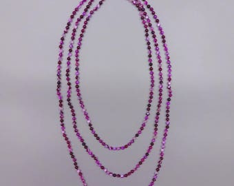 "70"" Polished Fuchsia Agate Endless Necklace."