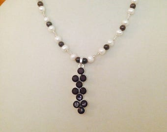 Handcrafted Garnet & Fresh Water Pearl beaded necklace with S80 Silver Garnet pendant plus free gift