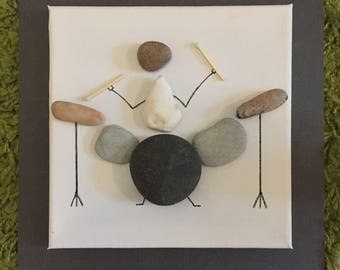 Drummer Drumming music Pebble Art Canvas Picture