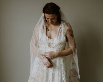 Brianna Veil - Hand Painted Bohemian English Net Bridal Veil
