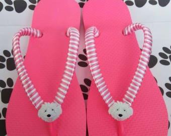 Pink and white striped flip flops with a dog button.  Flip flops for dog lovers.  Summer flip flops.  Women's flip flops.  Beach flip flops