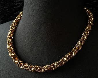 Glass - Golden amber beads necklace