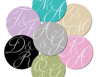 Personalised, wedding, engagement stickers 'Abstract Initials' - 30mm - various colours and quantities