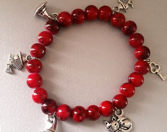 Bracelet red charm beads charms witch