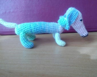 Small knitted dachshund