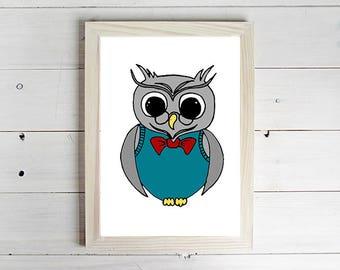 Professor Owl - Unframed Art Print, Owl Drawing, Nursery Picture, Animal Wall Art, Children's Decor, Kid's Bedroom.