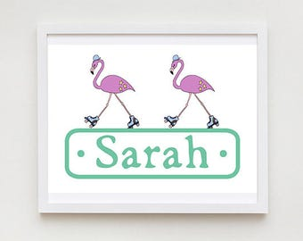 Personalised Flamingos Print - Animal Drawing, Nursery Wall Art, Children's Name Sign, Kid's Bedroom Door Sign, Bedroom Decor.