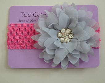 Pink and Grey Floral Headband with Rhinestone Embellishment