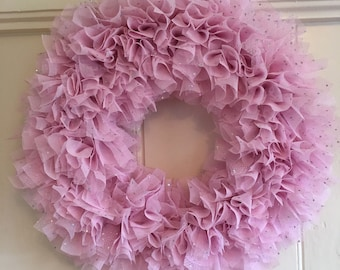 Pretty Sparkly Pink Tulle Wreath - Door Hanging - Girls Bedroom Decor - Decorative Wreath