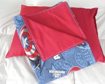 Beautiful Oversized Original First Avenger Baby Blanket w Matching Pillow.