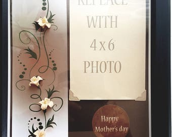 8 X 10 Mother's day frame, designed with airdry clay flowers - fits 4 X 6 photo.