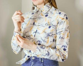 70s Calligraphy Motif Shirt Size Medium / White Shirt / Graphic Print Shirt