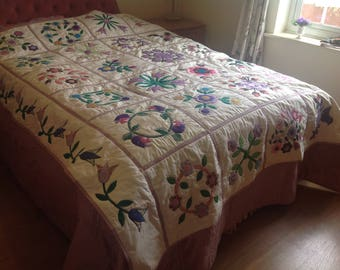 Hand made appliqué quilt in floral design