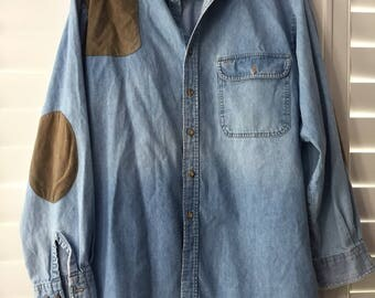 Vintage Orvis Men's Chambray Denim Hunting Shirt With Shooting Patch Size L