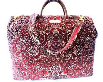 Carpet Bag, 'Red Medallion' Weekender Travel Bag Handmade in England!,  Free Worldwide Shipping!