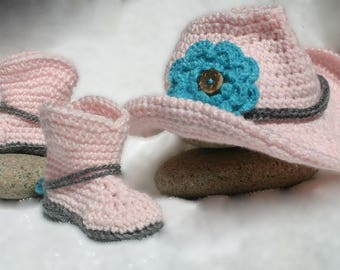 Crochet Baby Cowboy Hat and Boots- Photo Prop Set