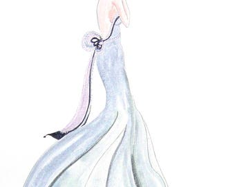 Skinny Goddess #5 Watercolor Painting by Cherie IZZO