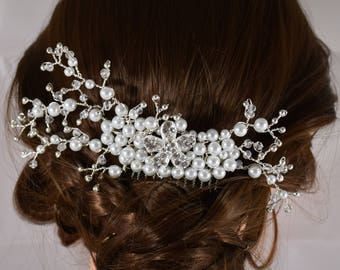 White Silver hair comb, Bridal hair comb, bridesmaid hair comb, wedding headpiece, Prom headpiece, Dance headpiece, Floral hair comb