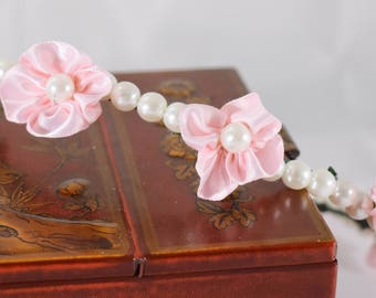 Pink Flower Wreath, Pink Satin flower and pearl, pearl wreath, Birthday girl wreath, Flower girl wreath, wedding wreath