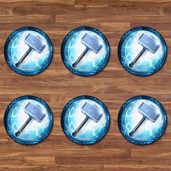 Thor Cupcake Toppers - Thor Stickers - Blue & White Logo - Thor 2 inch Round Stickers - Superhero Avengers Party - Avengers Party Tags